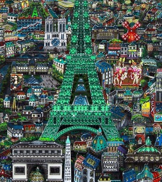 "Midnight in Paris colors - 15"" x 34,5"" - Serigraphy 3D on aluminium"