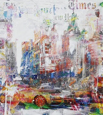 "N.Y Mamma mia - 44"" x 44"" - Mixed technique on canvas"
