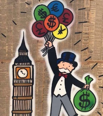 "Monopoly Big Ben & Balloons - 48"" x 36""inch - mixed media"