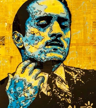 "De Niro Icon (The Godfather) - 48"" x 36""inch - mixed media"