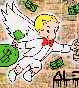 "White Richie Wings $ Bag - 36"" x 48"" inch - mixed media"