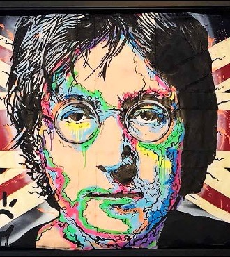 "John Lennon Icon On UK Flag - 38"" x 65"" inch - mixed media"
