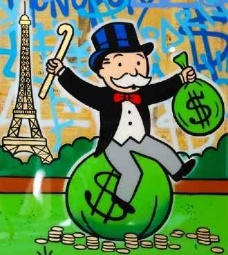 "Monopoly on $ Bag Eiffel Tower Graffiti - 48"" x 36"" inch - mixed media"