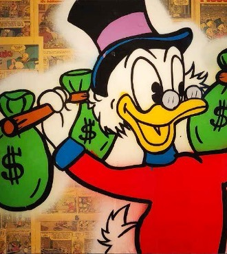 "Mister Scrooge With $ Bag Dumbbells - 36"" x 24"" inch - mixed media"