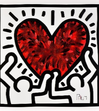 Crush - Tribute to Keith Haring - 100 x 100 cm - Plumes et dessin