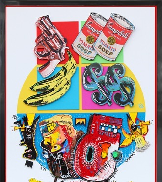 "Basquiat / Warhol - 19,6"" x 27,5"" - Mix Media"