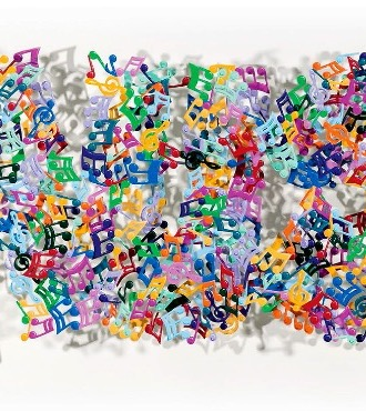 "Music Notes - 26"" x 73""- Sculpture metal in 3D"