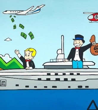 "Monopoly and Richie on yacht - 48"" x 36"" inch - mixed media"