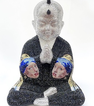 "Punk Buddha - It will always be you feat Vermeer - 13"" x 9"" x 6"" - Fiberglass, Acrylic paint, Swarovski crystals"