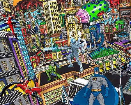"Batman rules the night - 16"" x 23"" - Serigraphy 3D"