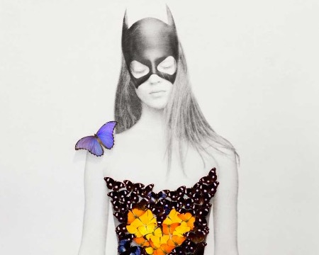 "Batwoman - Acrylic drawing on paper with mounted butterflies - 65""x49""x3,9"""