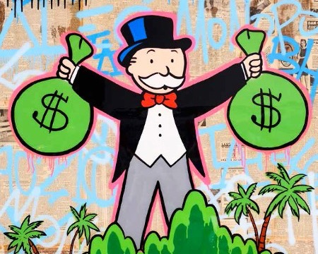 "Monopoly Holding 2 $ Bags Beverly Hills - 48"" x 60"" inch - mixed media"
