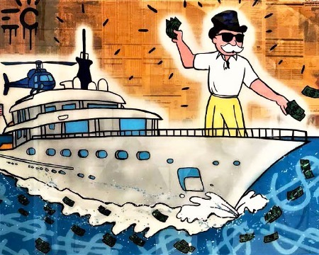 "Monopoly Cruising Yacht Polo - 40"" x 60"" inch - mixed media"