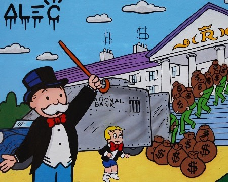 "Monopoly Richie loading out bank - 39"" x 50"" inch - mixed media"