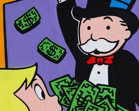"Richie giving $ to Monopoly - 36"" x 24"" inch - mixed media"