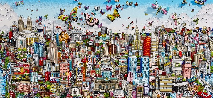 "Come fly with me, come fly away in NYC - 40"" x 28"" - Serigraphy 3D"