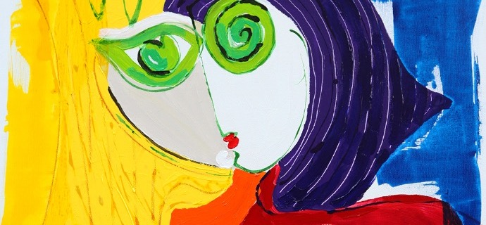 "La fille aux grands yeux verts - 36"" x 28,5"" - Mixed media on canvas"
