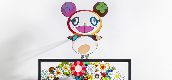 "Thinking outside the box # Murakami - 17,7"" x 38,6"" - Sculpture metal in 3D"