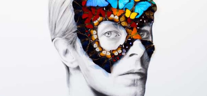"David Bowie - Acrylic drawing on paper with mounted butterflies - 55""x47""x3,9"""