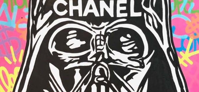 "DARTH VADER ICON CHANEL - 48"" x 60"" inch -  mixed media"