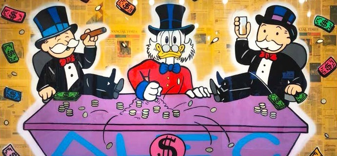 "Monopoly & Scrooge Sitting In Table Game - 118"" x 79"" inch - mixed media"