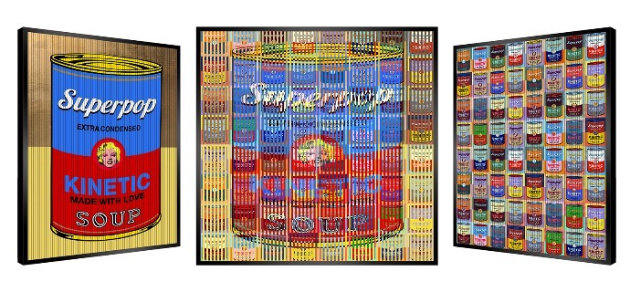 "Soup Everywhere - Kinetic Pop art - 35"" x 35"" inch"
