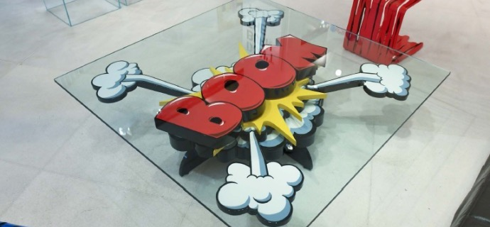 "Boom Coffee Table - 50"" x 50""- Sculpture metal in 3D"