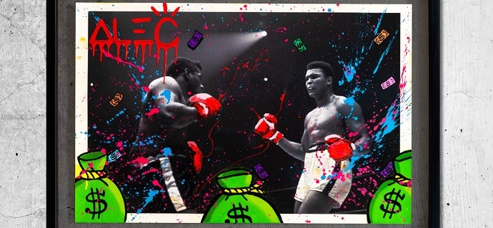 "Ali Boxing - 31"" x 23"" inch - mixed media"