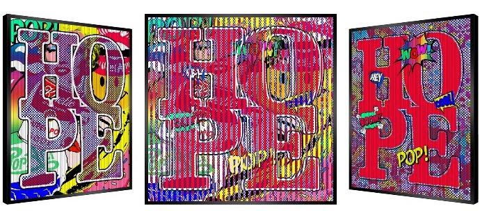 "Red Hope - Kinetic Pop art - 20"" x 20"" inch"