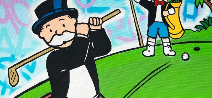 "Monopoly Richie $ golf - 48"" x 36"" inch - mixed media"