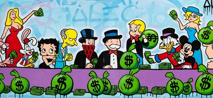 "Money team last supper - 48"" x 120"" inch - mixed media"