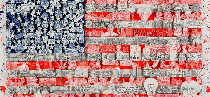 "Historically ... Our American Flag - 36"" x 19,5"" - Serigraphy 3D"