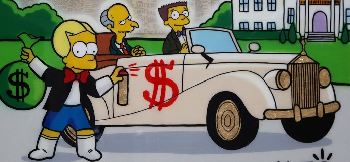 "Bart Richie tagging Mr Burns car - 48"" x 36"" inch - mixed media"