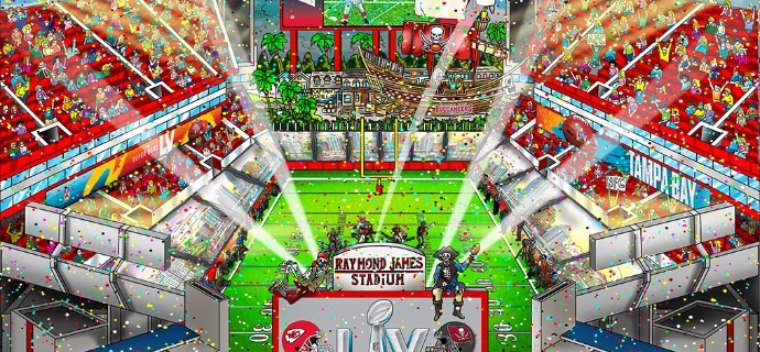 "Super Bowl LV : Tampa Bay - 13"" x 16,75"" - Serigraphy 3D"