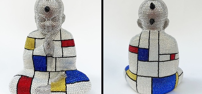 "Punk Buddha - Drawing the line feat Mondrian - 9"" x 6"" x 4"" - Fiberglass, Acrylic paint, Swarovski crystals"