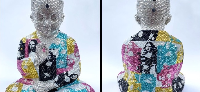 "Punk Buddha - Me and Myself ft Warhol - 18"" x 14"" x 12"" - Fiberglass, Acrylic paint, Swarovski crystals"