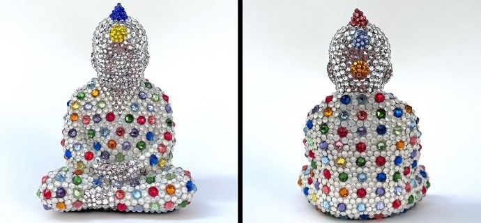 "Punk Buddha - Once upon a time feat Hirst - 4"" x 3""- Fiberglass, Acrylic paint, Swarovski crystals"