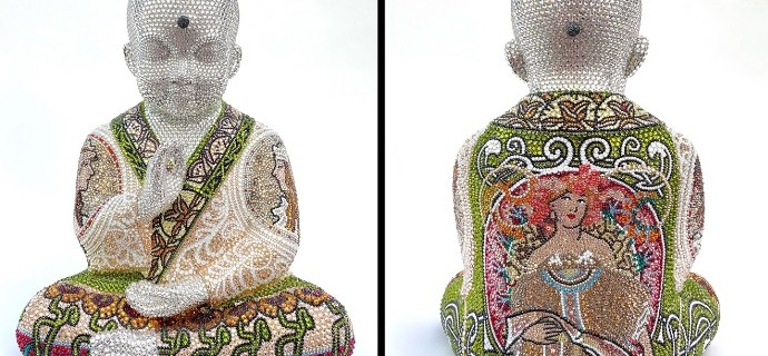 "Punk Buddha - Through the window of my mind feat Mucha - 18"" x 14"" x 12"" - Fiberglass, Acrylic paint, Swarovski crystals"