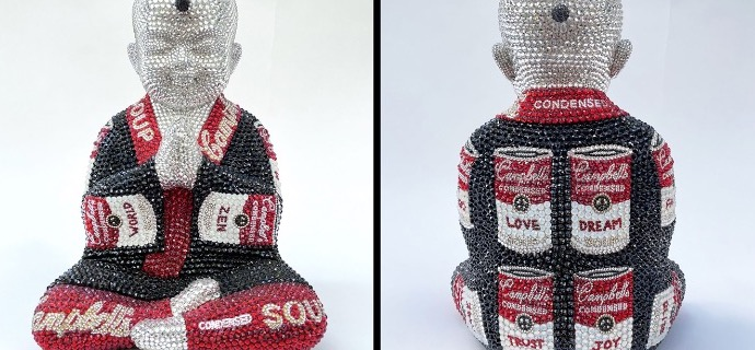 "Recipe for love feat Warhol - 13"" x 9"" x 6"" - Fiberglass, Acrylic paint, Swarovski crystals"